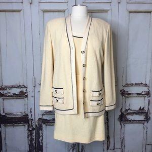 Vintage ST. JOHN cream knit skirt suit set 3 piece